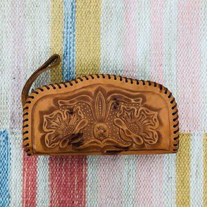 Vintage Leather Stamped Zip Waller Coin Purse